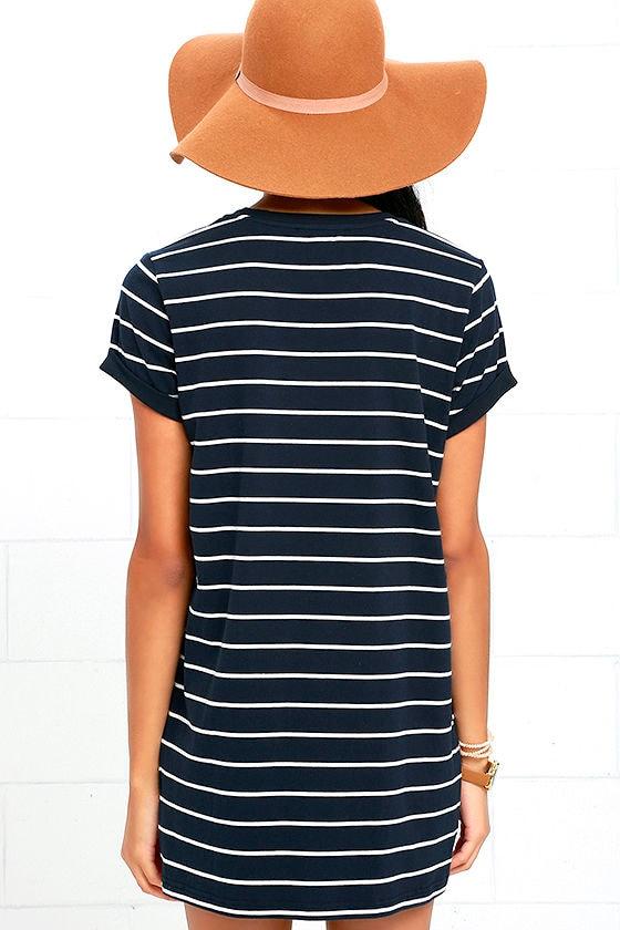 Cafe Society Navy Blue Striped Shirt Dress 4