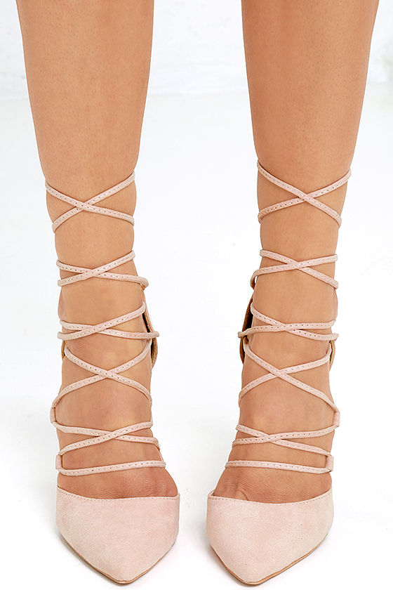 Your Girl Blush Suede Lace-Up Heels 2