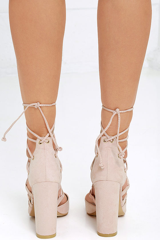 Your Girl Blush Suede Lace-Up Heels 4