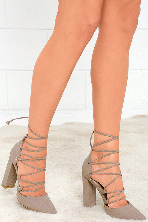 chic taupe suede heels laceup heels pointed pumps
