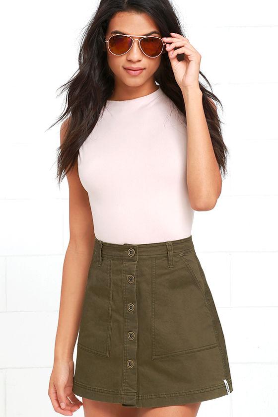 2cd8847d57 Rhythm Pacific Skirt - Olive Green Skirt - A-Line Skirt - $55.00