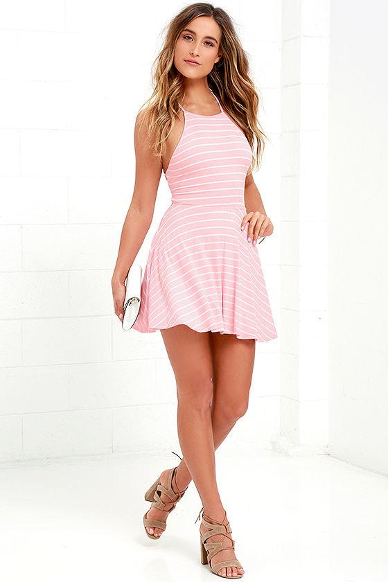 31c0c9f94f0 Cute Pink Dress - Striped Dress - Skater Dress - Lace-Up Dress -  38.00