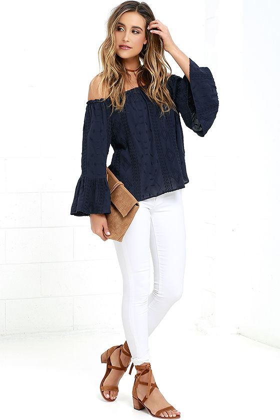 439455fc2d8 Navy Blue Top - Embroidered Top - Off-the-Shoulder Top - $44.00