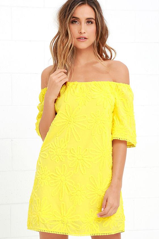 BB Dakota Marine - Yellow Dress - Off-the-Shoulder Dress - $97.00