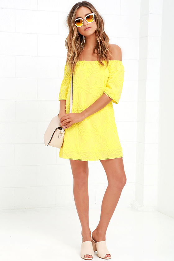 941091464f93 BB Dakota Marine - Yellow Dress - Off-the-Shoulder Dress -  97.00