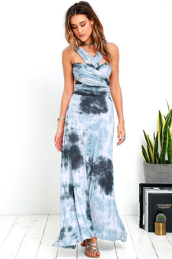1ed012d9d2b Cool Blue Grey Tie-Dye Dress - Maxi Dress - Convertible Dress -  76.00
