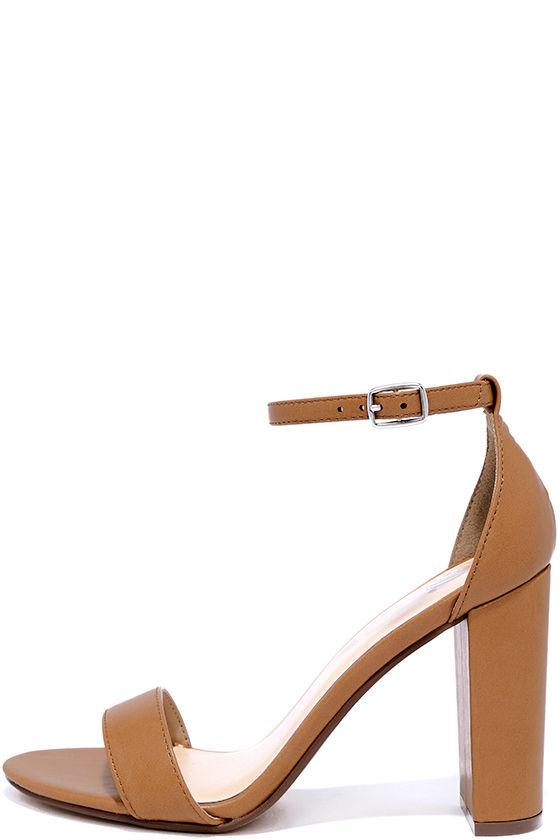 Pretty Tan Heels - Ankle Strap Heels - Dress Sandals - $22.00