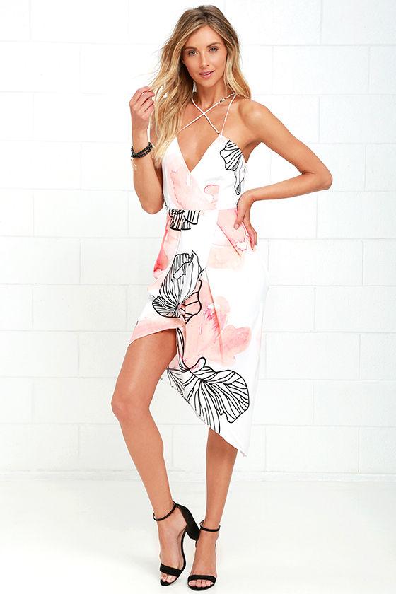 Elliatt Serene Dress - Peach Print Dress - High-Low Dress - $185.00
