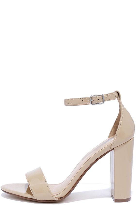 Pretty Beige Heels - Ankle Strap Heels - Dress Sandals - $22.00