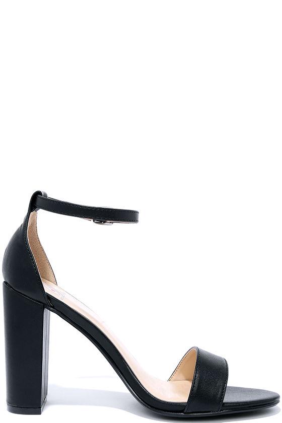 Pretty Black Heels - Ankle Strap Heels - Dress Sandals - $22.00