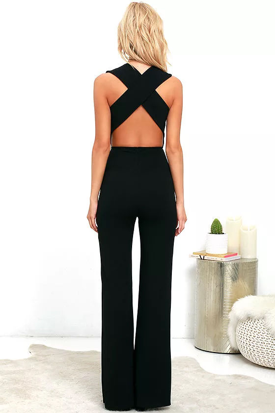 Thinking Out Loud Black Backless Jumpsuit 5