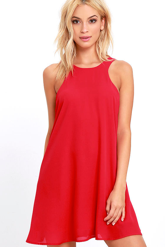 Lucy Love Charlie Red Shift Dress Sleeveless Dress