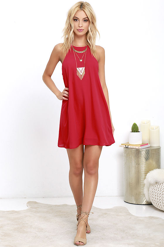 Lucy Love Charlie - Red Shift Dress - Sleeveless Dress - $73.00
