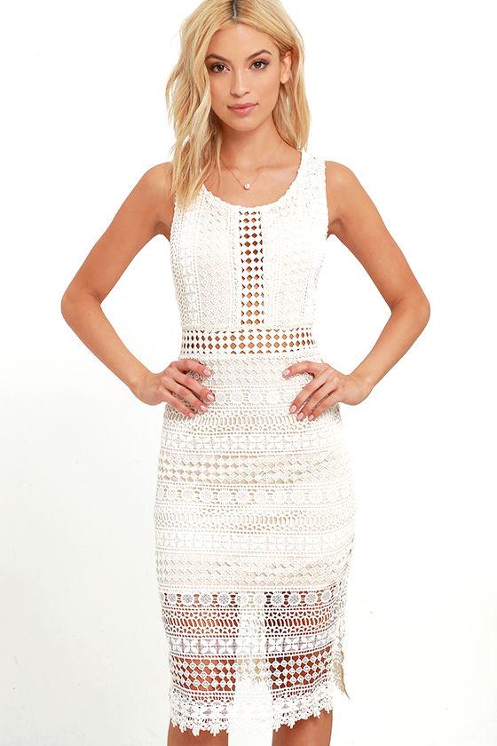 cf78e32e035 Beautiful Lace Dress - Beige and Ivory Dress - Midi Dress -  68.00