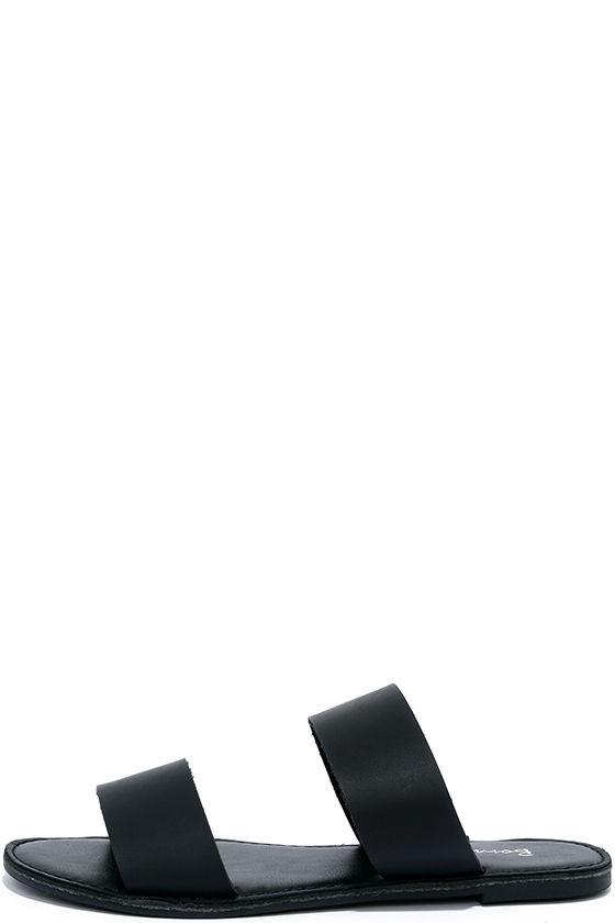 5dad879f7 Cute Black Sandals - Slide Sandals - Flat Sandals -  15.00