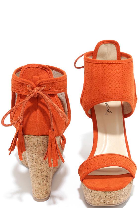 Cute Orange Wedges - Wedge Sandals