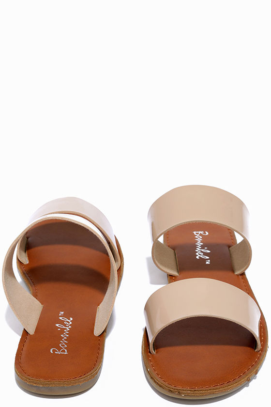 Time to Chill Nude Patent Slide Sandals 2