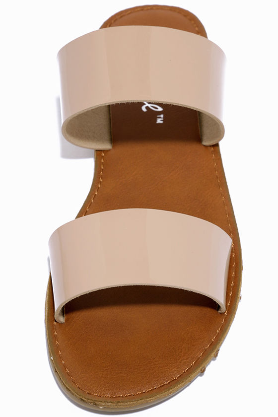 Time to Chill Nude Patent Slide Sandals 4