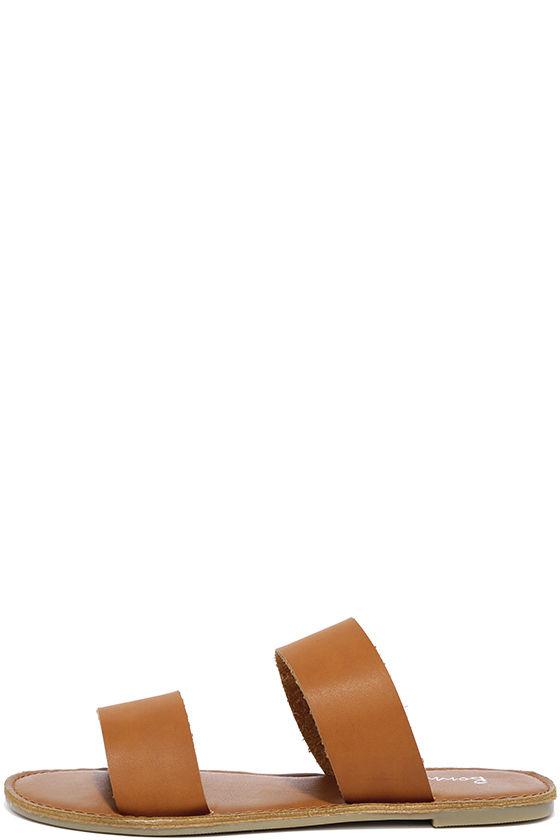 882711bfb9c5 Cute Tan Sandals - Slide Sandals - Flat Sandals -  15.00