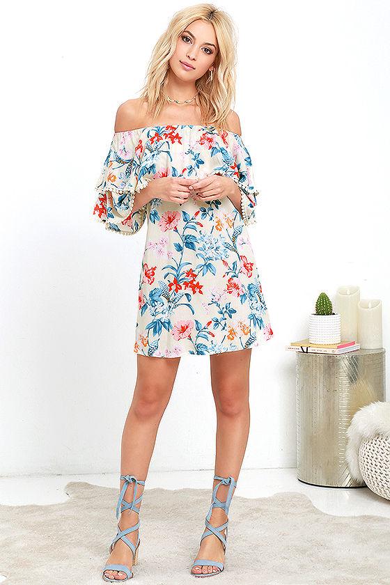 436f3611b1de Lovely Floral Print Dress - Cream Print Dress - Off-the-Shoulder ...