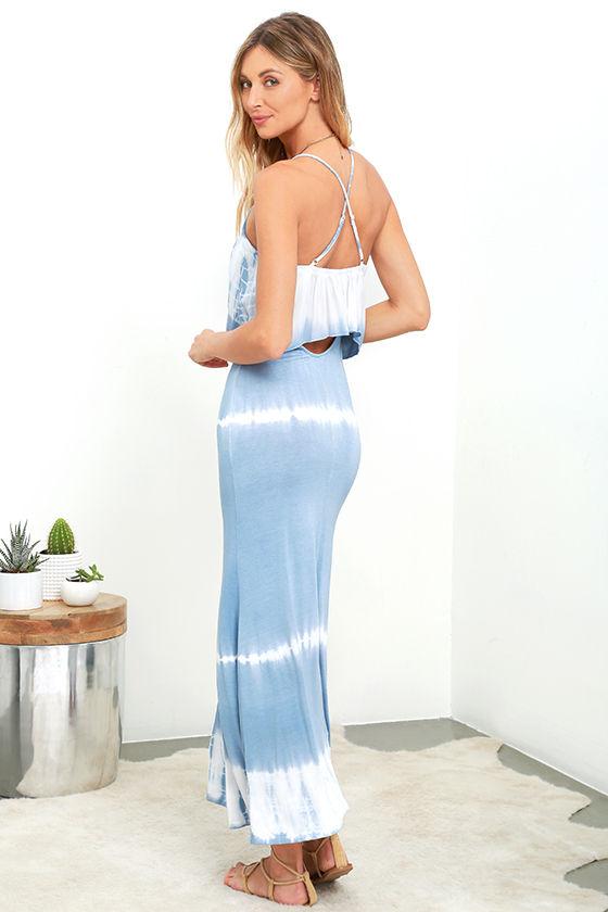 Blue grey maxi dress