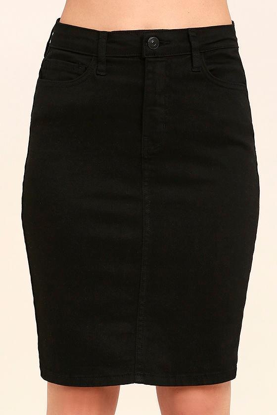 black denim skirt pencil skirt high waisted skirt 49 00