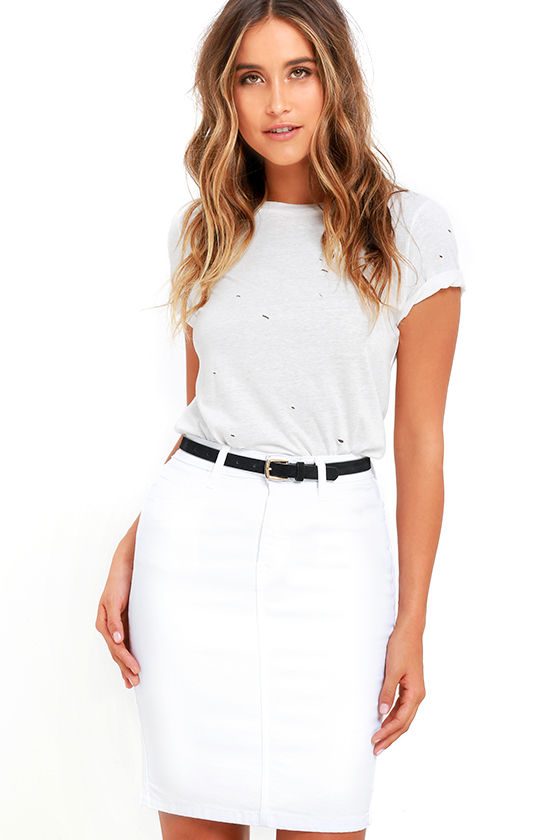 White Denim Skirt - Pencil Skirt - High-Waisted Skirt - $49.00