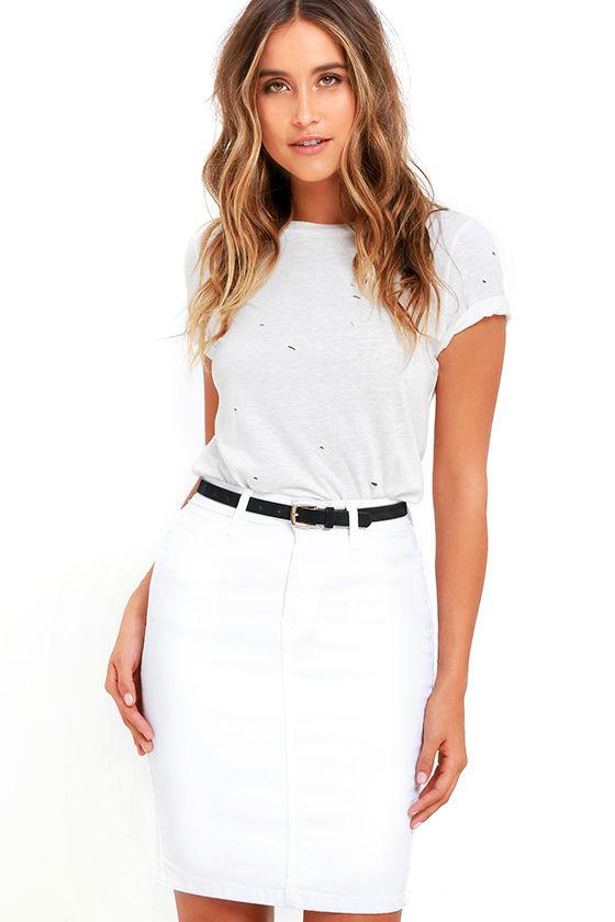 White Denim Skirt - Pencil Skirt - High-Waisted Skirt - $49.00