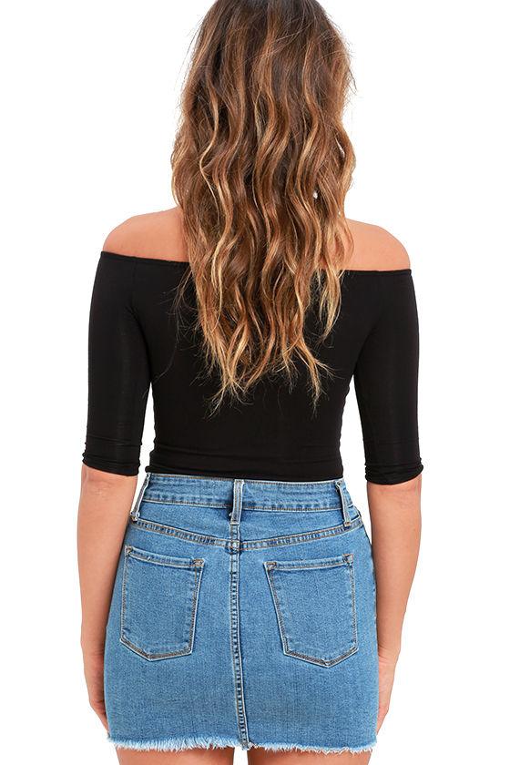 Pop and Lock Medium Wash Denim Mini Skirt 3