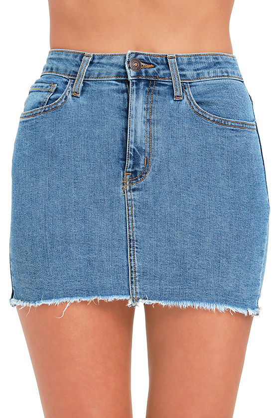 Denim Skirt - Mini Skirt - High-Waisted Skirt - $44.00