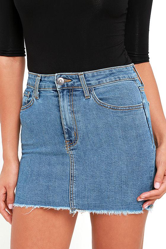 Pop and Lock Medium Wash Denim Mini Skirt 5