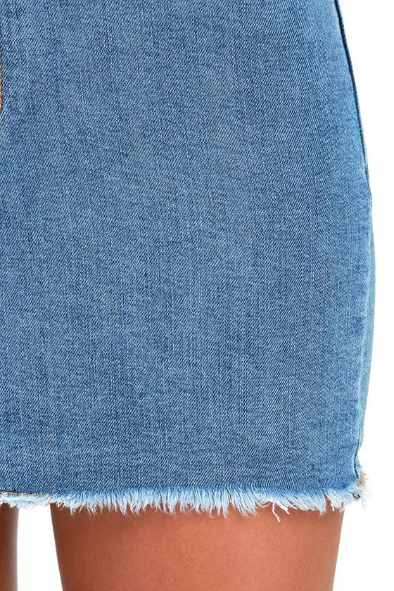 Pop and Lock Medium Wash Denim Mini Skirt 6