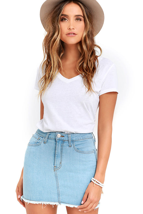 Pop and Lock Light Wash Denim Mini Skirt 1