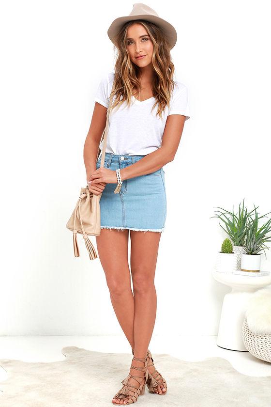 Denim Skirt - Mini Skirt - High-Waisted Skirt
