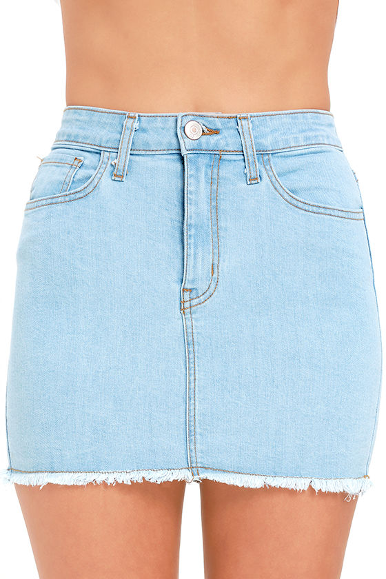 Denim Skirt - Mini Skirt - High-Waisted Skirt - $44.00