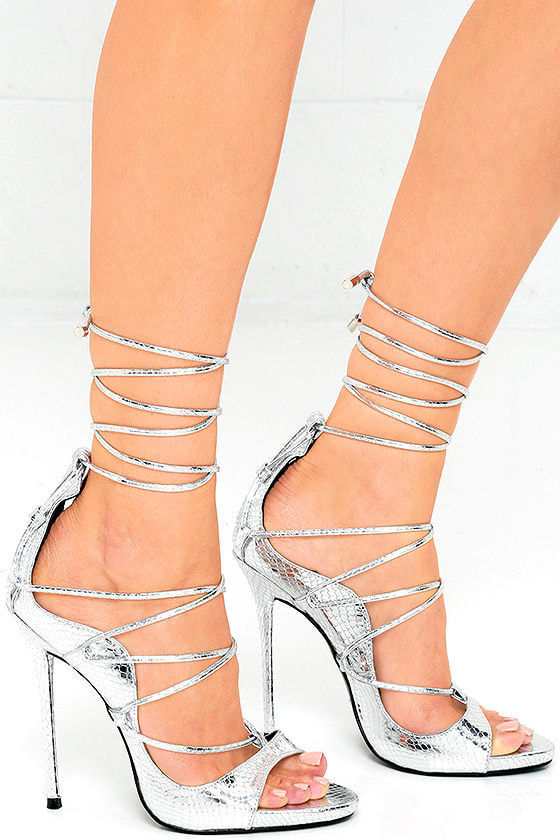 Sexy Silver Heels - Snakeskin Heels - Lace-Up Heels - $41.00