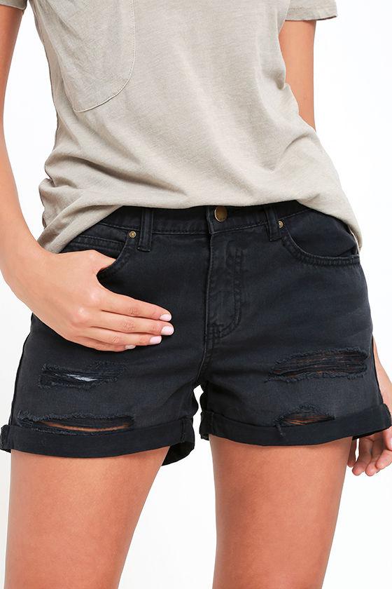 Billabong Frankie Shorts - Washed Black Shorts - Distressed Shorts ...