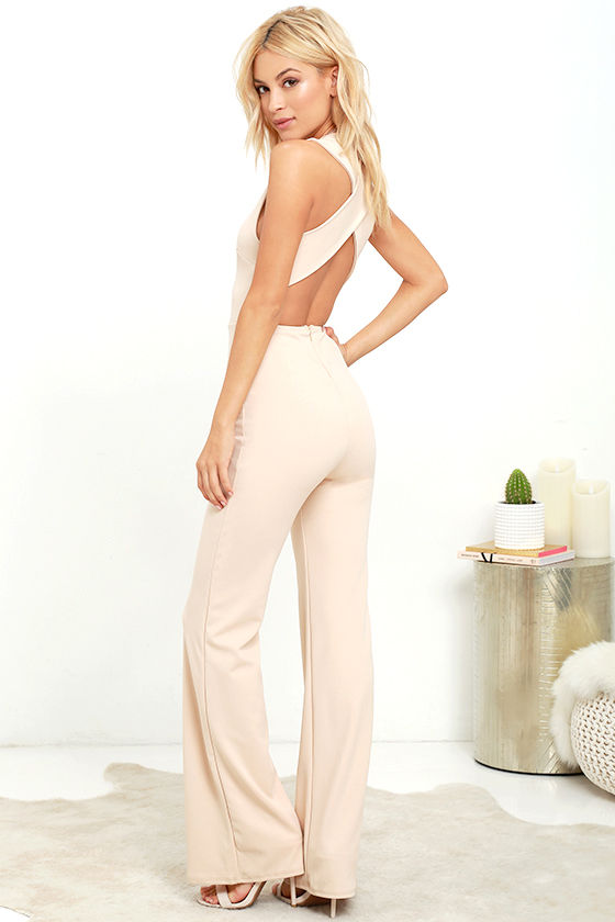 3e4c4206583 Chic Beige Jumpsuit - Backless Jumpsuit - Sleeveless Jumpsuit -  49.00