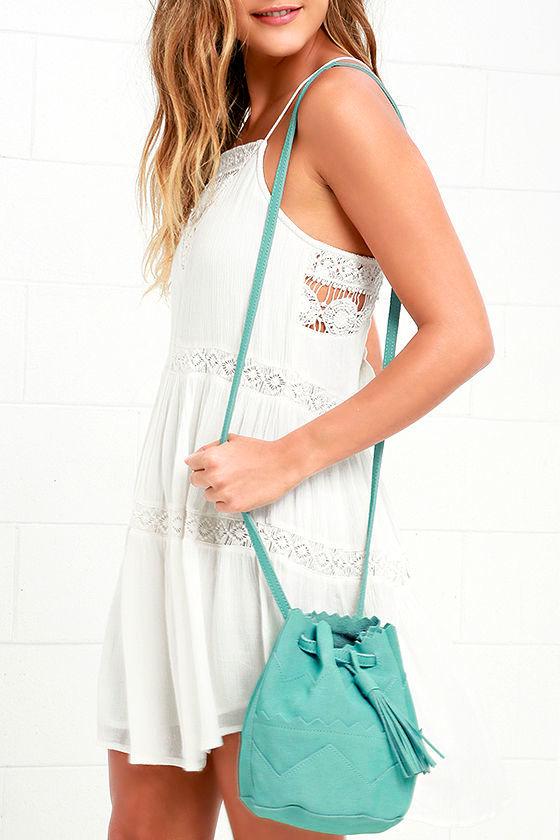 Turquoise Bucket Bag - Mini Bucket Bag - Suede Bag -  49.00