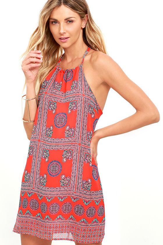 Social Philosophy Coral Red Print Halter Dress 1