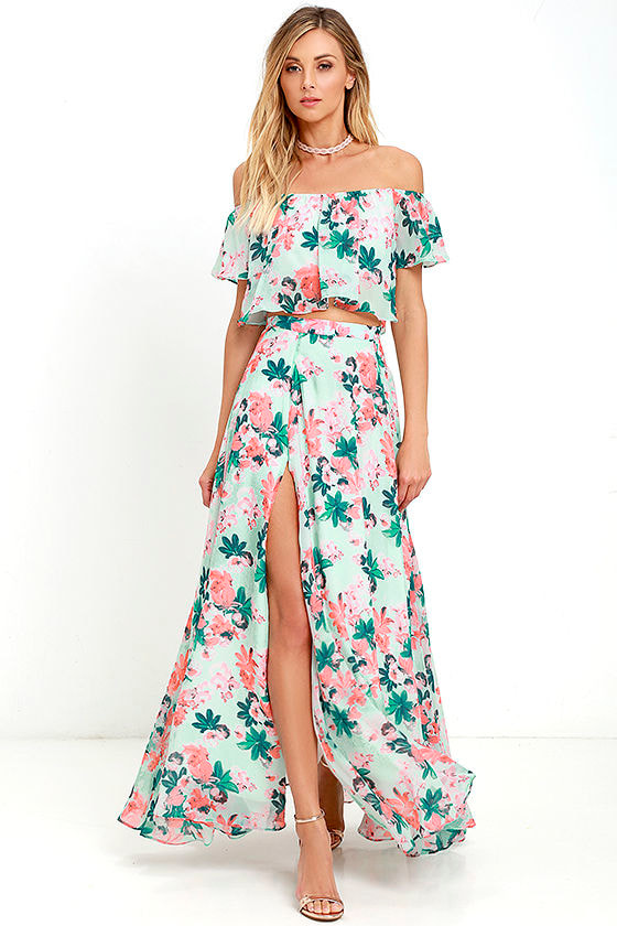 ab8b49efb Floral Print Two-Piece Dress - Two-Piece Maxi Dress - Mint Two-Piece Dress  - $124.00