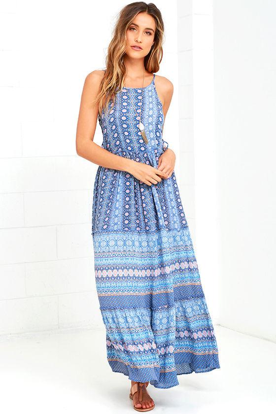 35b4c7a4d10 Patrons of Peace - Blue Print Dress - Lace-Up Dress - Maxi Dress -  63.00