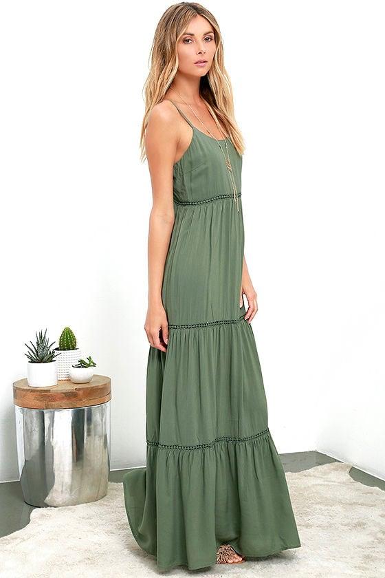 Olive Green Dress - Maxi Dress - Vacation Dress - $64.00