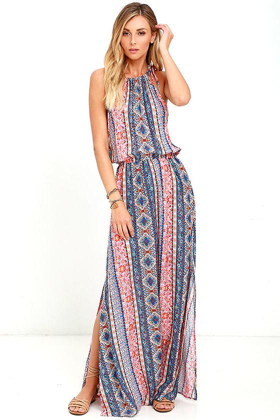 Boho Orange Print Dress - Maxi Dress - Sleeveless Dress - $84.00