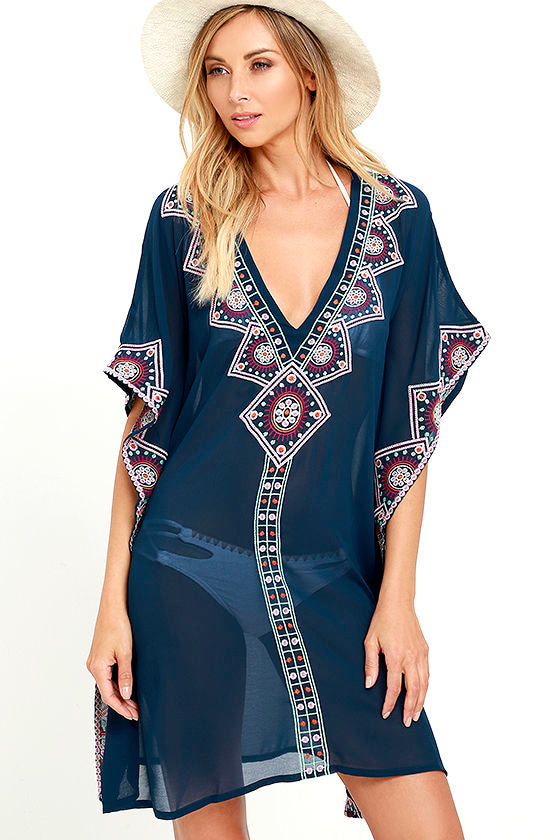 cb278c32e Embroidered Kaftan - Navy Blue Cover-Up - Swim Cover-Up - $82.00