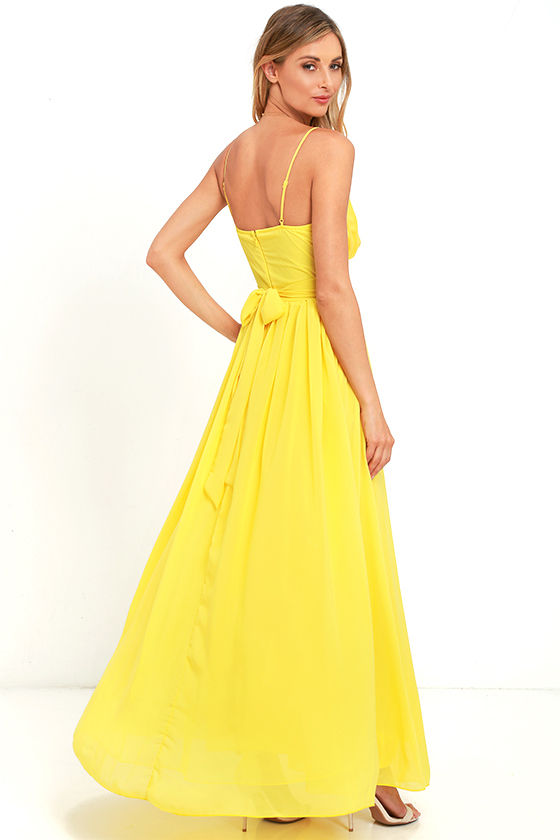 Lovely Yellow Dress - Maxi Dress - Bridesmaid Dress - Formal Dress ...