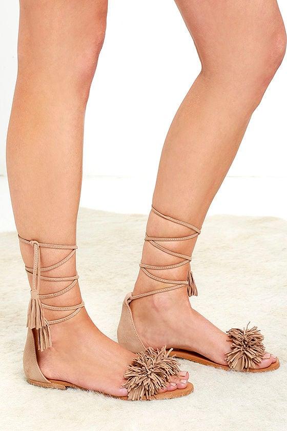 Cute Suede Sandals Lace Up Sandals Flat Sandals 69 00