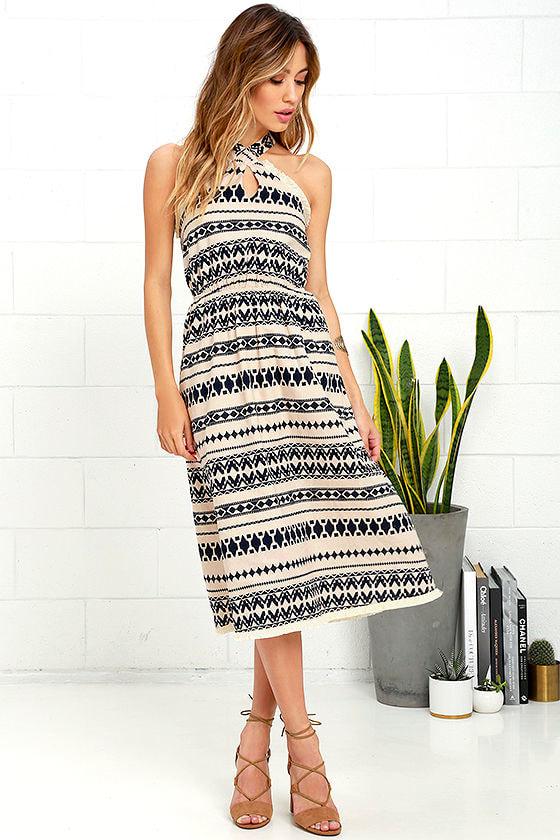 JOA Great Expanse Beige Print Midi Dress