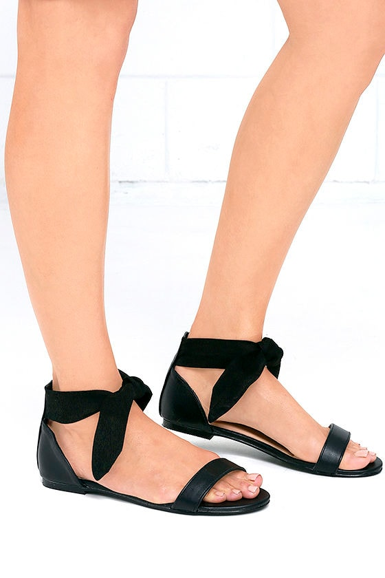0ab5c19a129 Cute Black Sandals - Flat Sandals - Ankle Wrap Sandals -  23.00