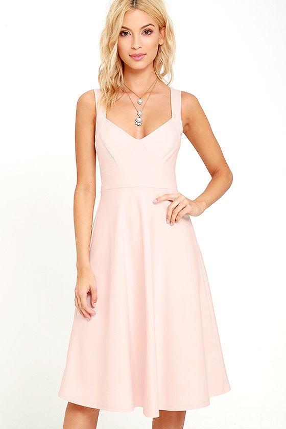 ef851104a1a7 Chic Blush Pink Dress - Midi Dress - Fit and Flare Dress - $59.00